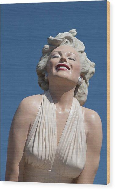 Marilyn In The Sun Wood Print