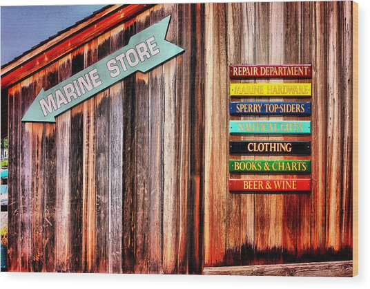 Marina Store Signs Wood Print by Trudy Wilkerson