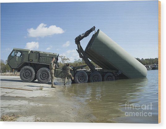 Marines Lower An Improved Ribbon Bridge Wood Print