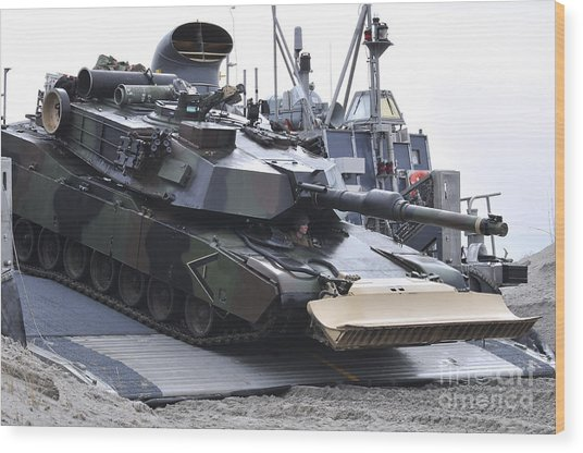 Marines Off-load An Armored Tank Wood Print