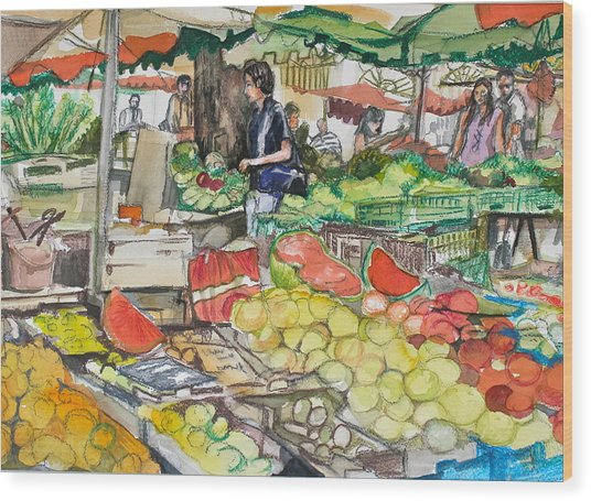 Market At Aix En Provence Wood Print by Laurel Fredericks