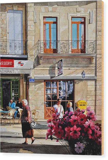 Market Cafe In Gascony Wood Print