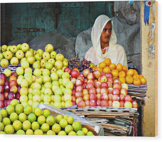 Market Of Djibuti-3 Wood Print by Jenny Senra Pampin