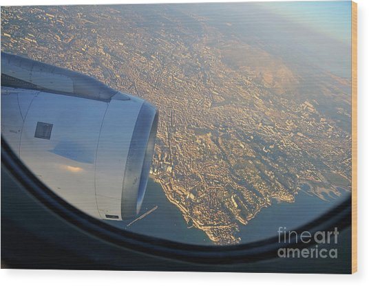 Marseille City From An Airplane Porthole Wood Print by Sami Sarkis