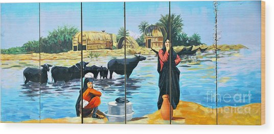 Marsh Arabs - Basrah Iraq Wood Print by Unknown - Local National