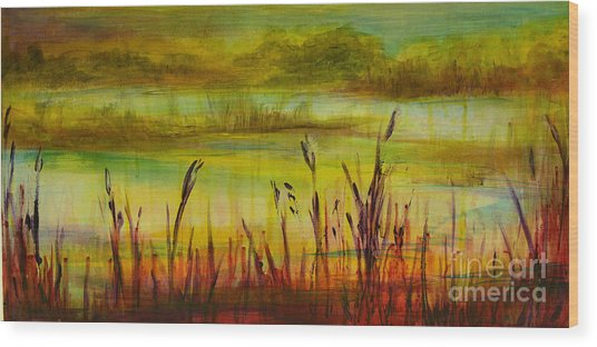 Marsh View Wood Print by Sandra Taylor-Hedges