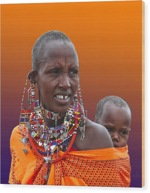 Masai Mother And Child Wood Print