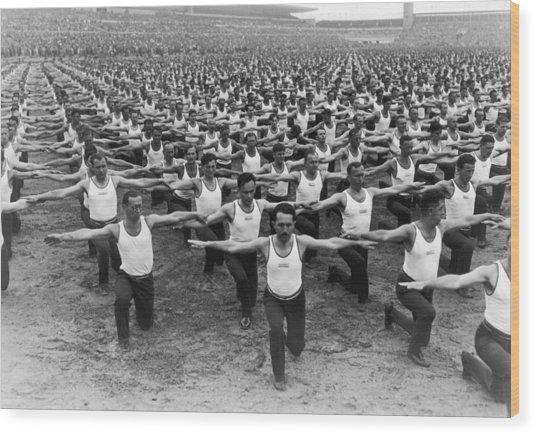 Mass Gymnastics Wood Print by Archive Photos
