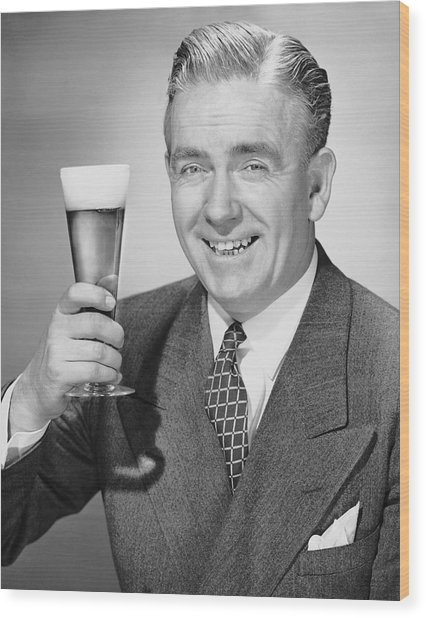 Mature Businessman W/ Beer Wood Print by George Marks