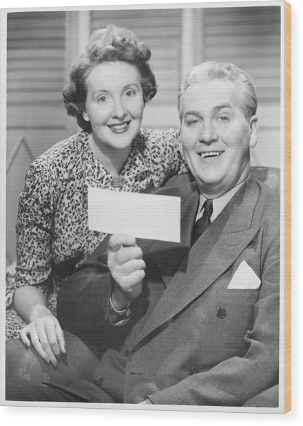 Mature Couple Posing, Man Holding Check, (b&w), Portrait Wood Print by George Marks