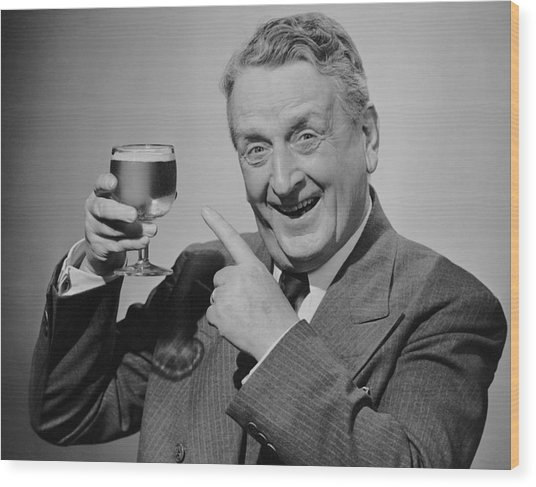 Mature Man W/glass Of Beer Wood Print by George Marks