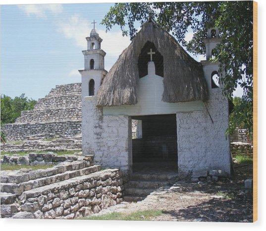 Mayan Chapel Wood Print