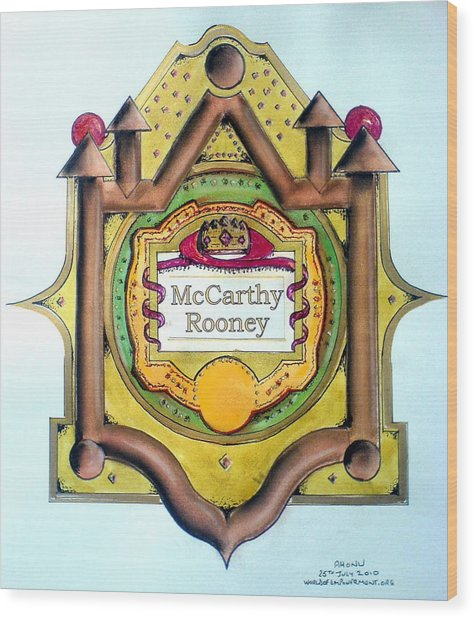 Mccarthy-rooney Family Crest Wood Print