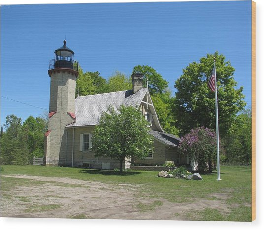 Mcgulpin Point Light After Wood Print by Keith Stokes