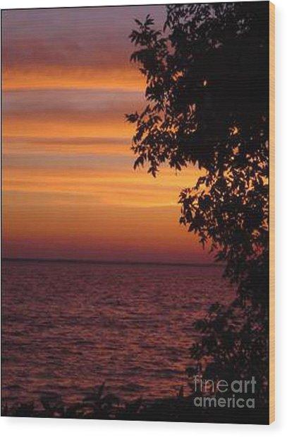 Meditation Sunset Wood Print