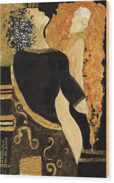 Meeting Gustav Klimt  Wood Print