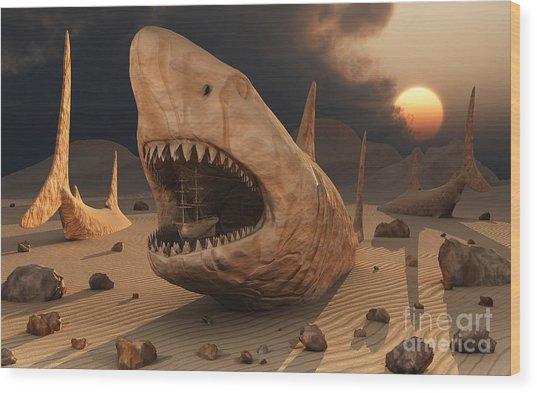 Megalodon Desert Wood Print