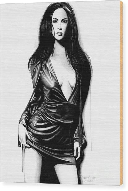 Megan Fox Wood Print