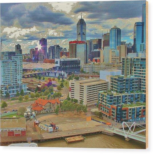 Melbourne City Blocks Of Color Wood Print