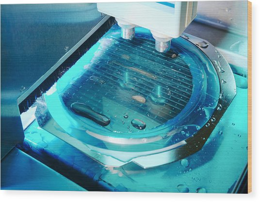 Mems Production, Wafer Cutting Wood Print by Colin Cuthbert