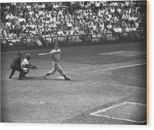 Men Playing Baseball, (b&w), Elevated View Wood Print by George Marks