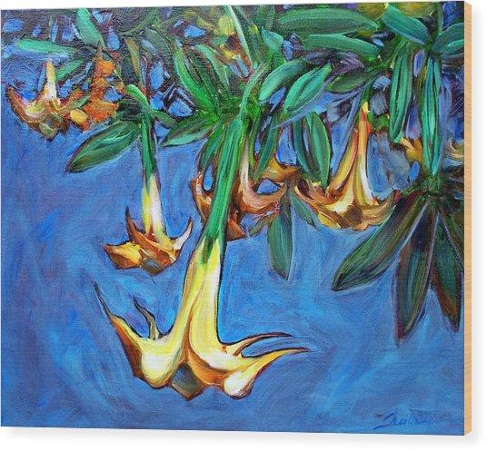 Mendocino Angel Trumpet Wood Print by Sheila Tajima