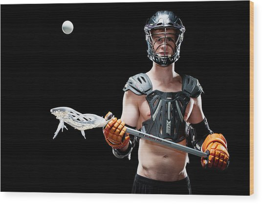 Mens Lacrosse  Wood Print