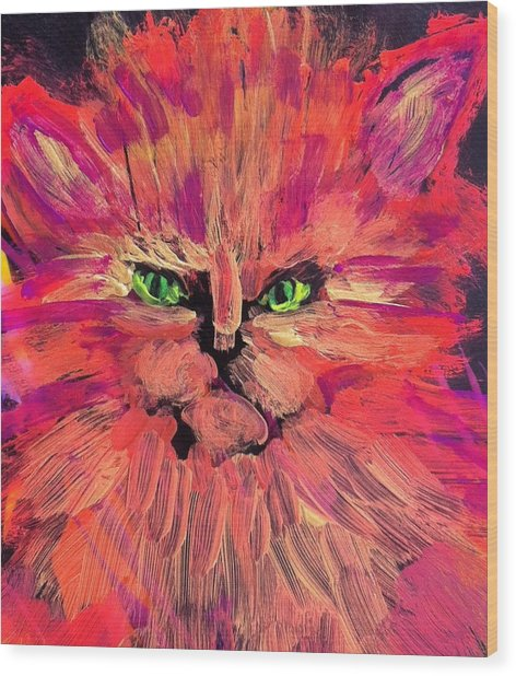 Meow Wood Print by Gail Eisenfeld