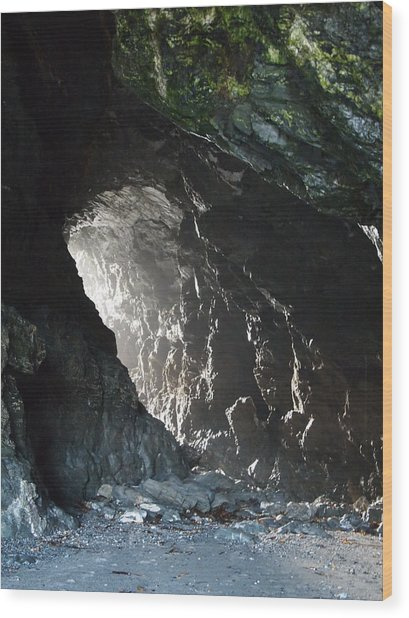 Merlin's Cave Wood Print by Christopher Mercer