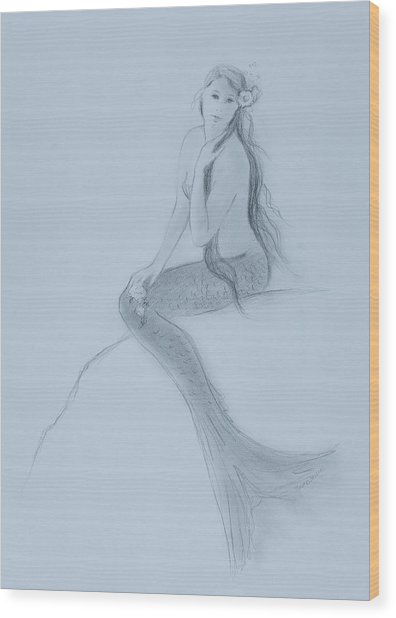 Mermaid Christina Touching Her Hair Wood Print by Tina Obrien