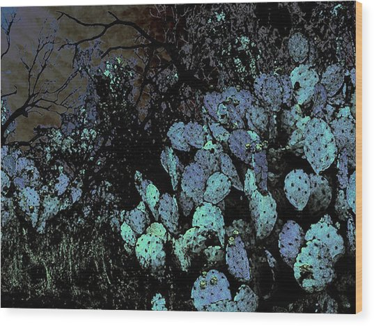 Mesquite And Prickly Pear On Ridge Wood Print