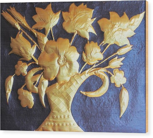 Metal Flowers Wood Print by Rejeena Niaz