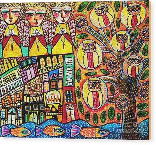 Mexican Seaside Village Wood Print