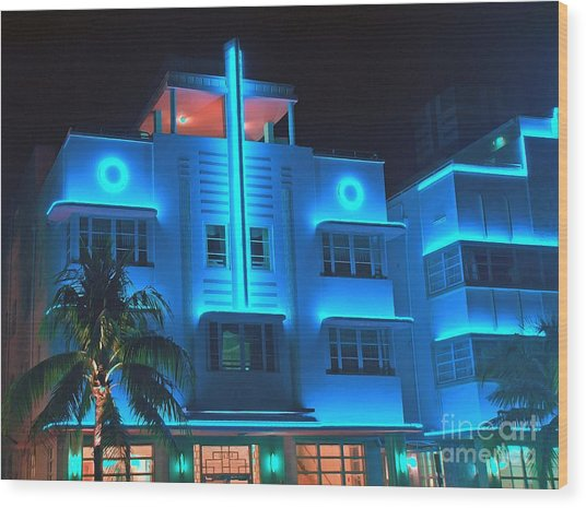 Miami Deco Lights Wood Print