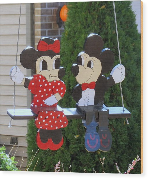 Mickey And Minnie Mouse Wood Print