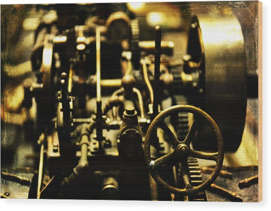 Micro Gears Wood Print