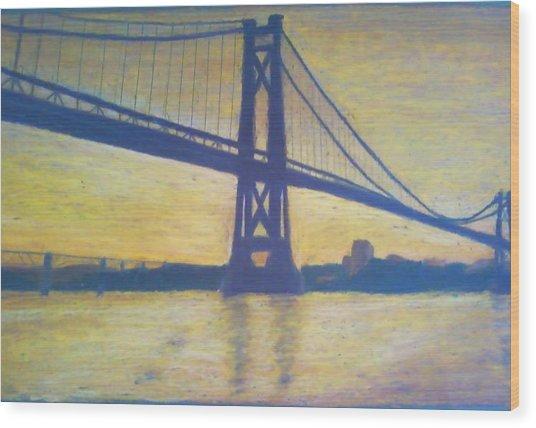 Mid-hudson Bridge Sunrise Wood Print by Samuel McMullen