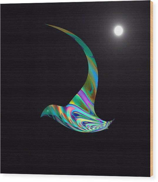 Wood Print featuring the digital art Midnight Flight by Visual Artist Frank Bonilla