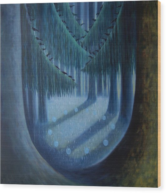 Midnight In The Enchanted Forest Wood Print
