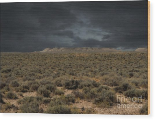 Midnight On The Pairie In Wyoming Wood Print