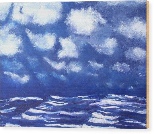 Midnight Sea Wood Print by Jon Shepodd