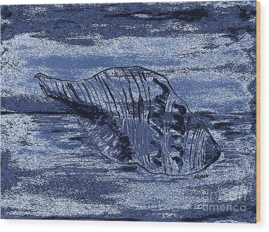 Midnite Tide Shell Wood Print