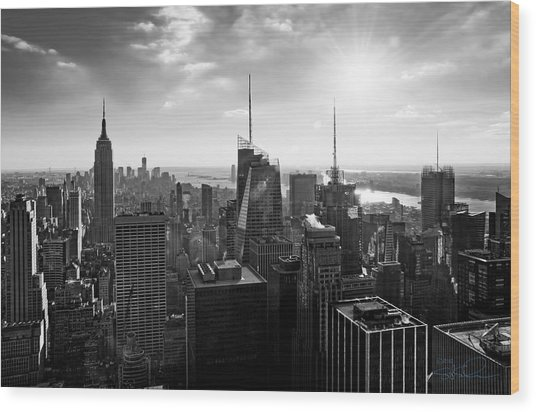 Midtown Skyline Infrared Wood Print
