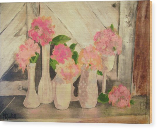 Milk Glass Vases With Flowers Wood Print by Kemberly Duckett