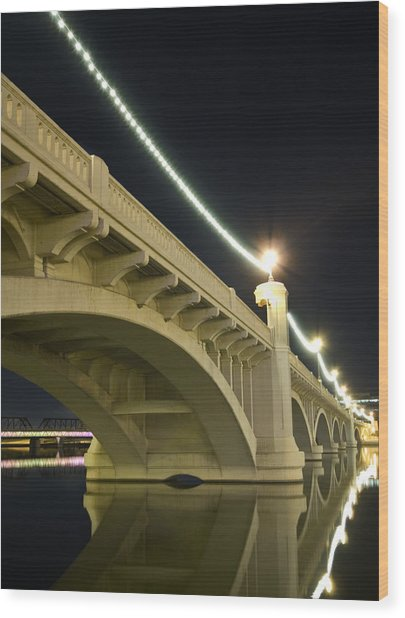Mill Avenue Bridge At Night Wood Print