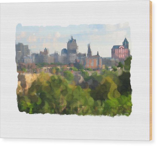 Milwaukee From Resevoir Park Wood Print by Geoff Strehlow
