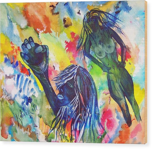 Mind Body Soul Wood Print by Katina Cote