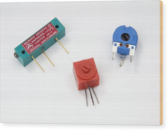 Mini Pcb Potentiometers Wood Print by Trevor Clifford Photography