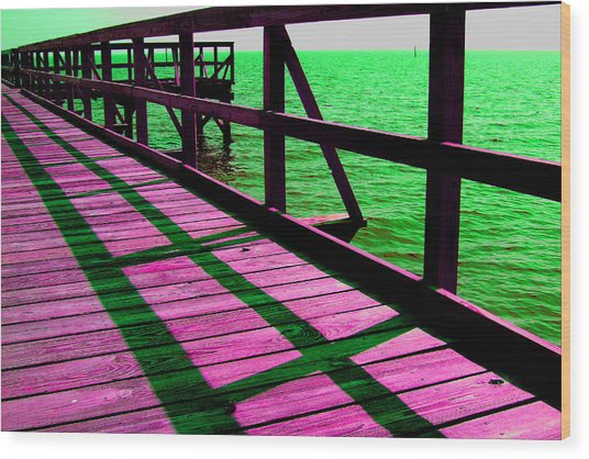 Mississippi  Pier - Ver. 5 Wood Print by William Meemken