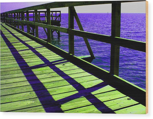 Mississippi  Pier - Ver. 7 Wood Print by William Meemken